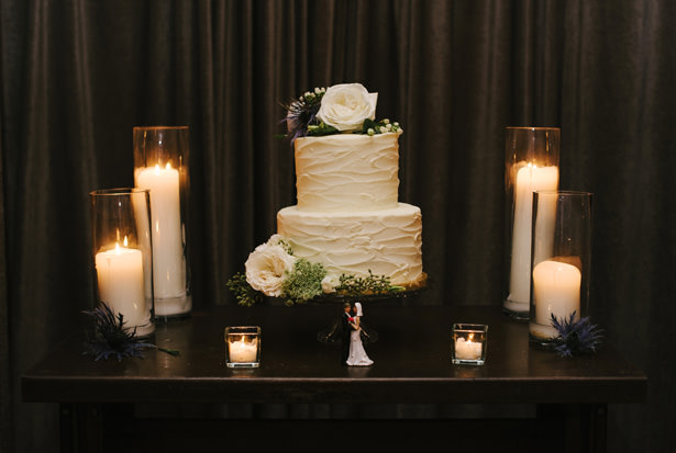 Simple White Wedding Cake With Single Rose - Williamsburg Photo Studios