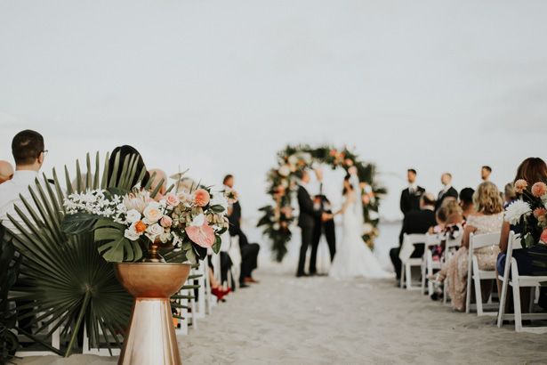 Tropical Beach Wedding Ceremony Decor - Amy Lynn Photography