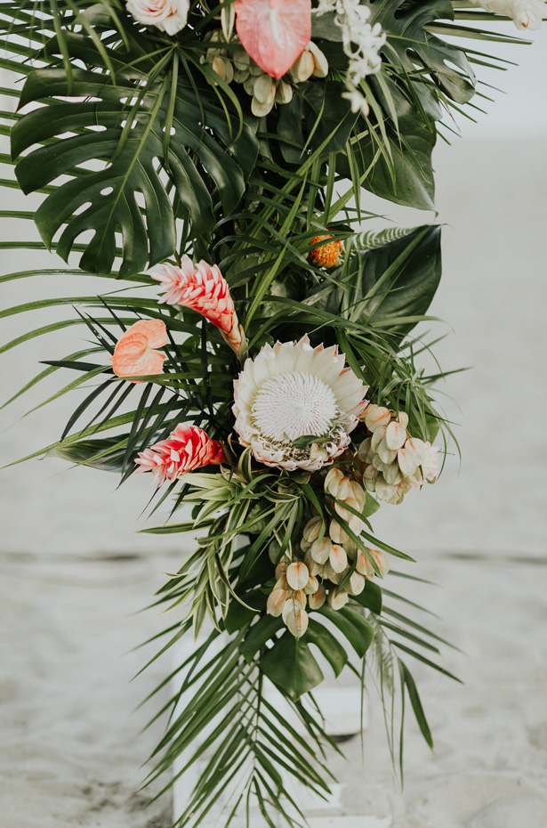 Tropical Wedding Arch Details - Amy Lynn Photography