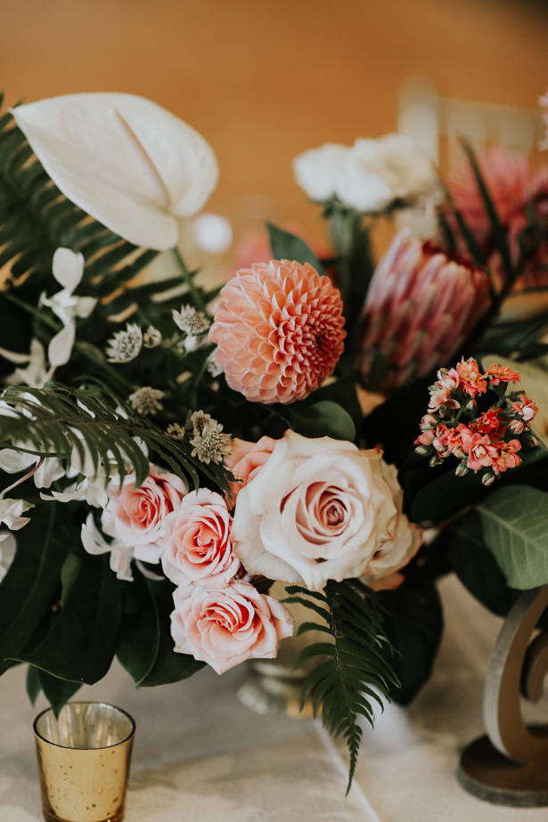 Tropical Wedding Table Centerpiece - Amy Lynn Photography