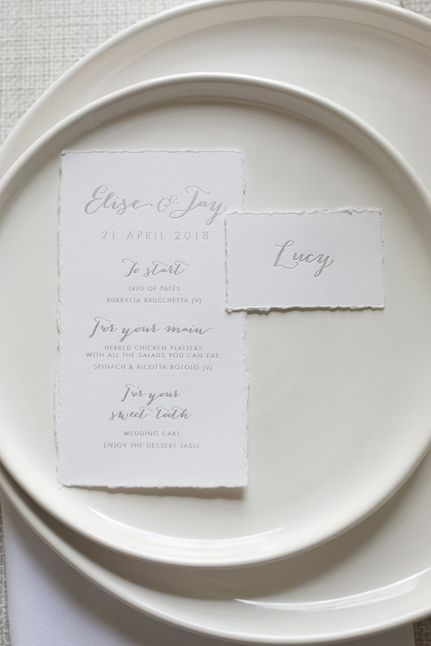 Vintage wedding menu with calligraphy and Silver foil details - Sophie Lake Photography