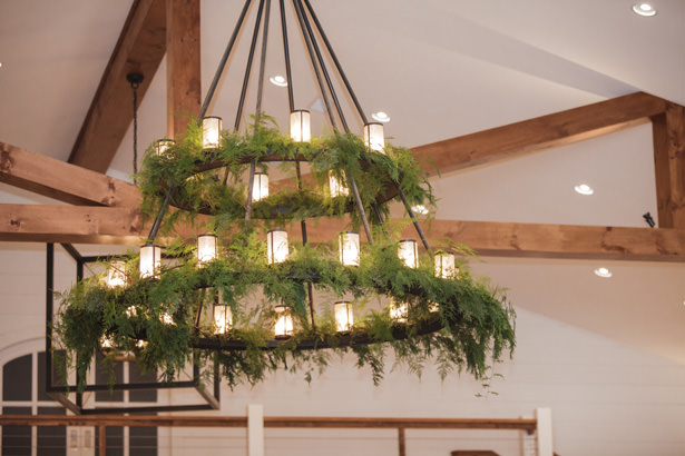 Wedding Chandelier with Greenery - Kathy Beaver Photography