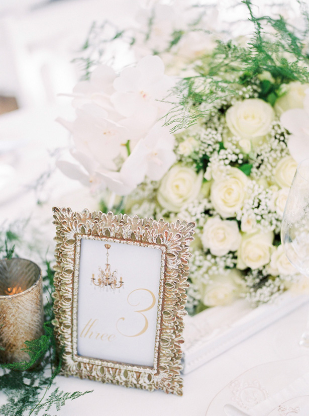 Wedding Table number with gold frame - Sergio So