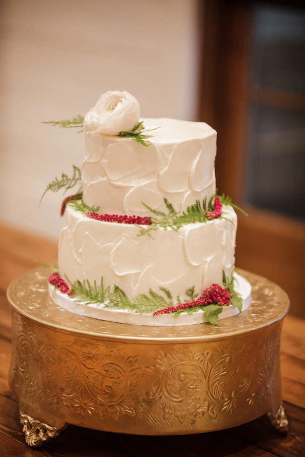 Winter Wedding Cake with Greenery - Kathy Beaver Photography