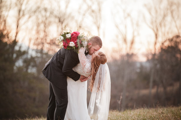 Winter Wedding Kiss - Kathy Beaver Photography