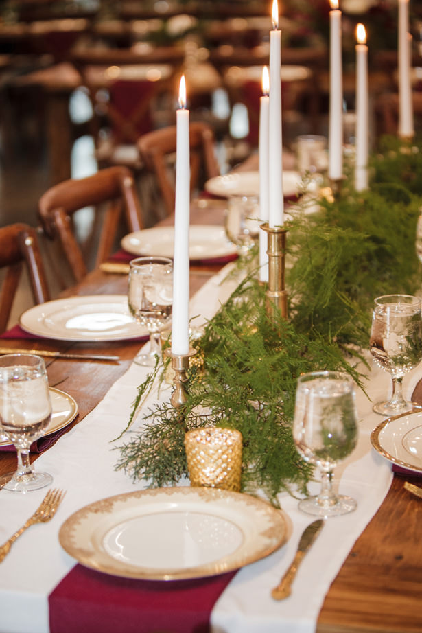 Winter Wedding Table with candlelight and Greenery - Kathy Beaver Photography