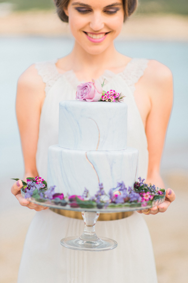 gold and Purple Marble Wedding Cake - Heike Moellers Photography