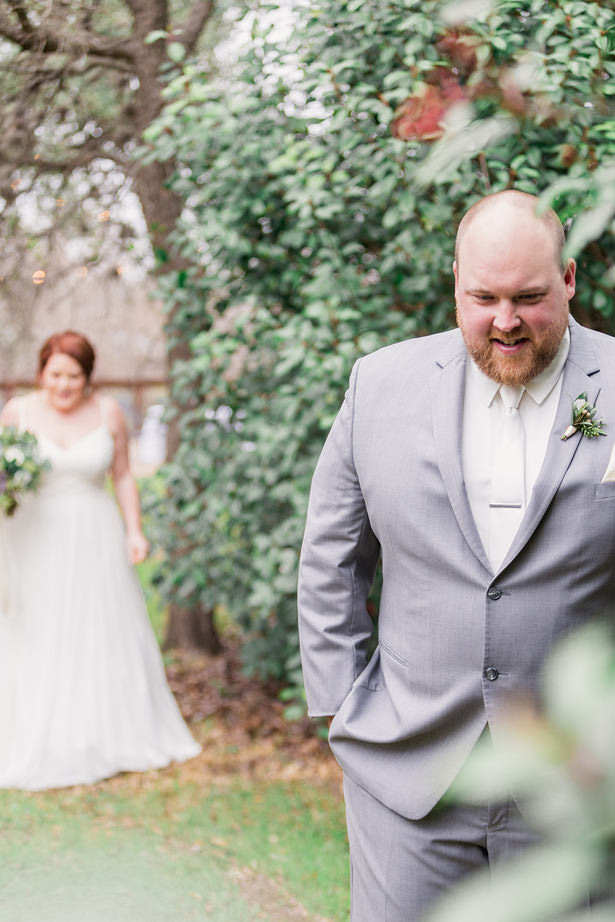 grooms silver suit with white tie - Holly Marie Photography