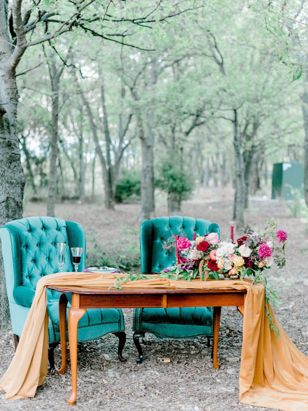 jewel tone wedding sweetheart table - Rachel Elaine Photo