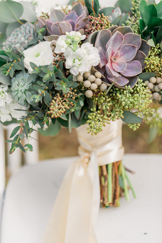 succulent organic wedding bouquet - Holly Marie Photography