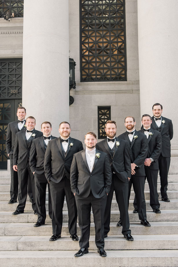 Groomsmen in black tuxedos- 1985 Luke Photography