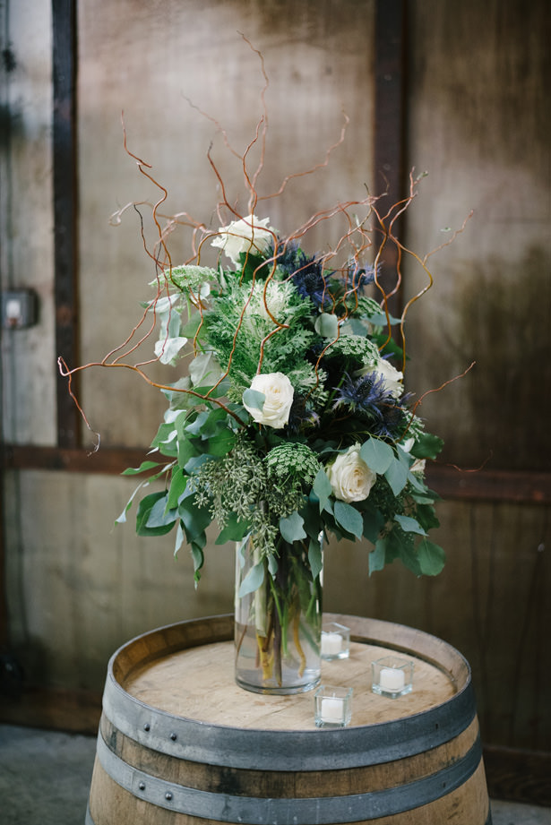 wine barrel wedding flowers - Williamsburg Photo Studios