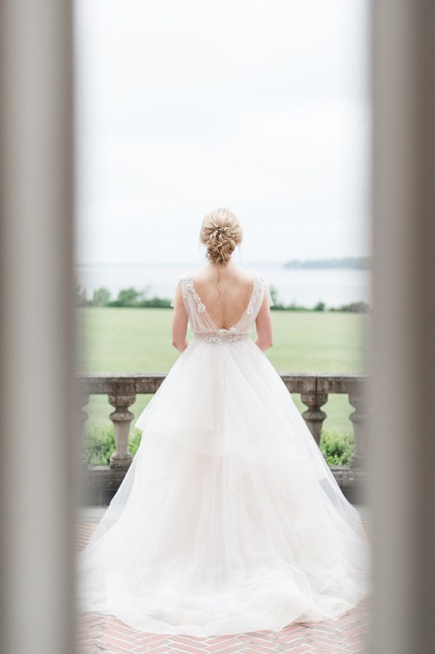 Backless Ball gown wedding dressBall gown wedding dress with layered skirt - Lynne Reznick Photography