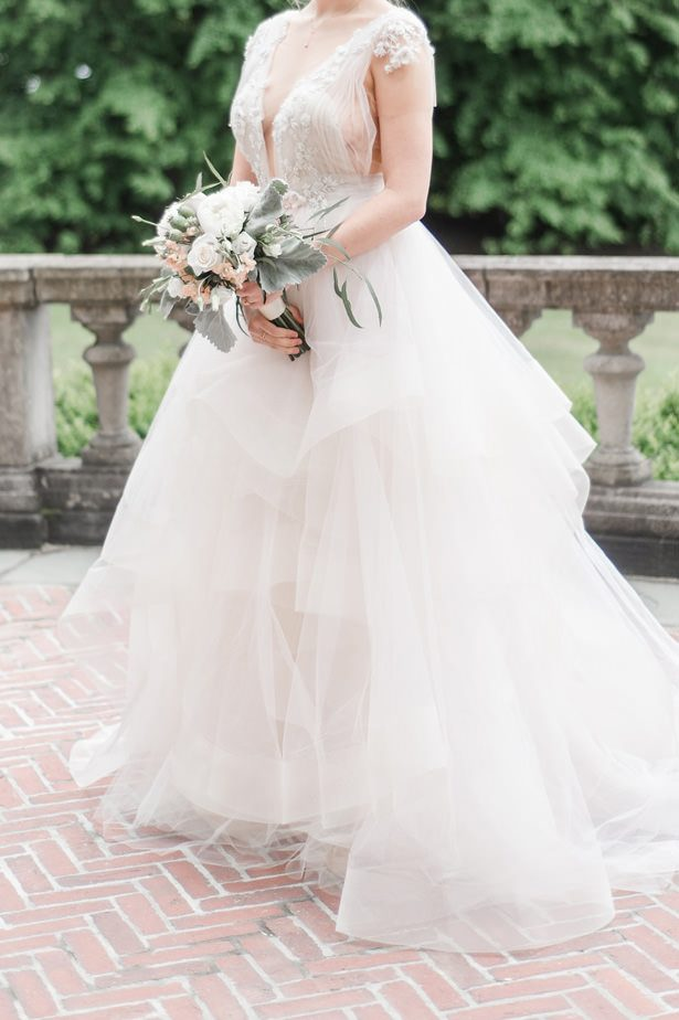 Ball gown wedding dress with layered skirt - Lynne Reznick Photography