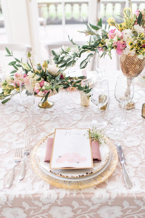 Blush wedding place setting - Lynne Reznick Photography