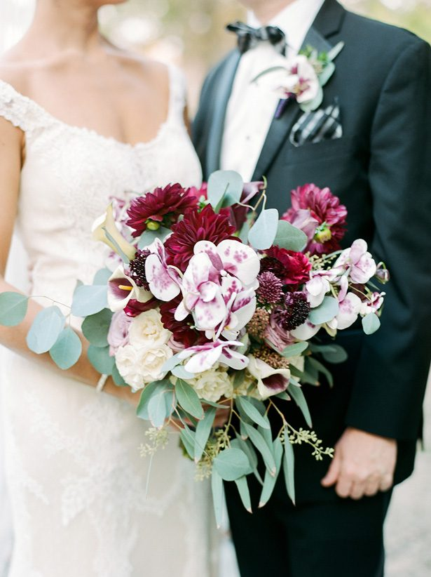 Burgundy wild wedding bouquet - Melissa Schollaert Photography