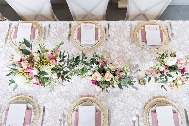 Elegant blush long wedding table - Lynne Reznick Photography