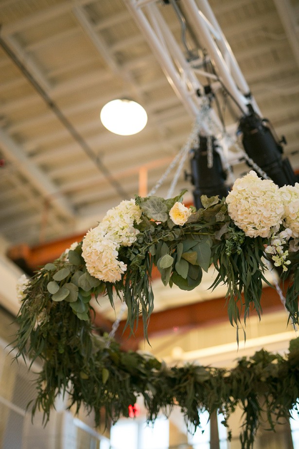 Greenery wedding chandelier installation decor - Alice Hq Photography