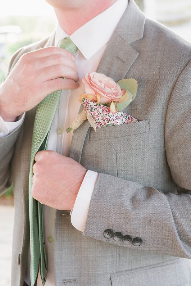 Grooms silver suit with green accents - Emily Richardson Photography