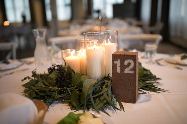 Industrial Glam Wedding Centerpiece with greenery and candles - Alice Hq Photography