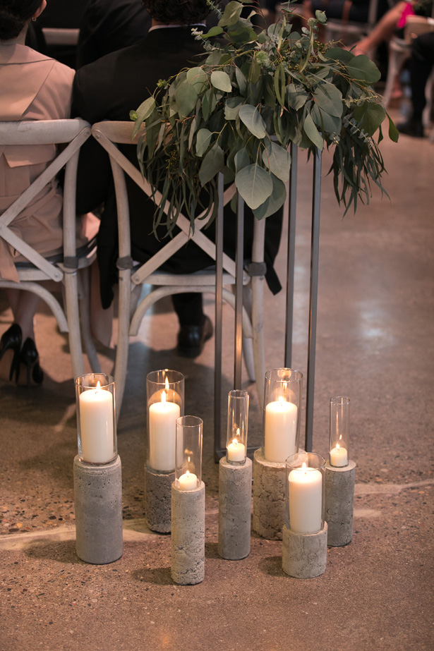Industrial Glam Wedding Ceremony decor with candles and greenery - Alice Hq Photography