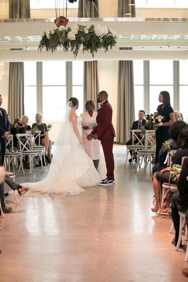 Industrial Glam Wedding Ceremony with Touches of Burgundy and Greenery - Alice Hq Photography