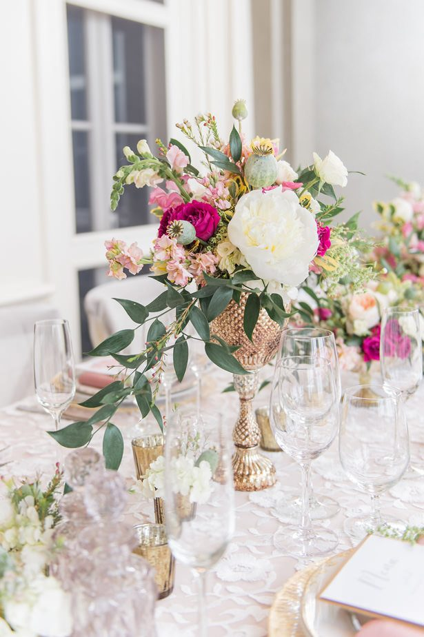 Low wedding centerpiece with peonies and pink flowers - Lynne Reznick Photography