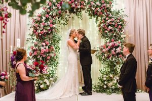 Luxury Wedding Ceremony Decor with greenery and flower Arch - Melissa Schollaert Photography