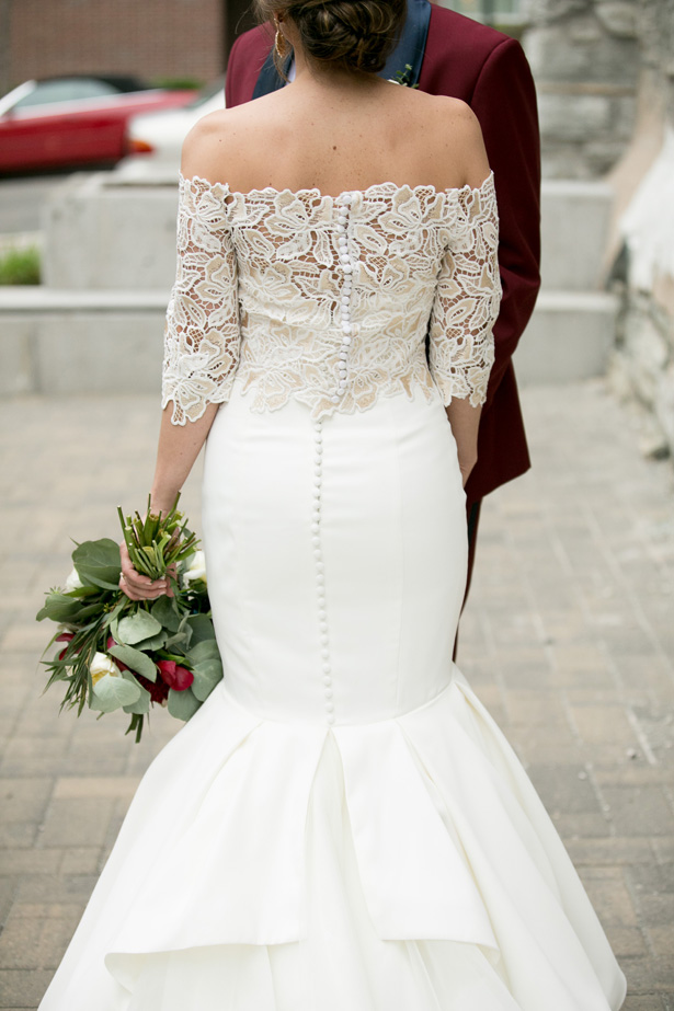 Mermaid strapless wedding dress with lace cover up - Alice Hq Photography