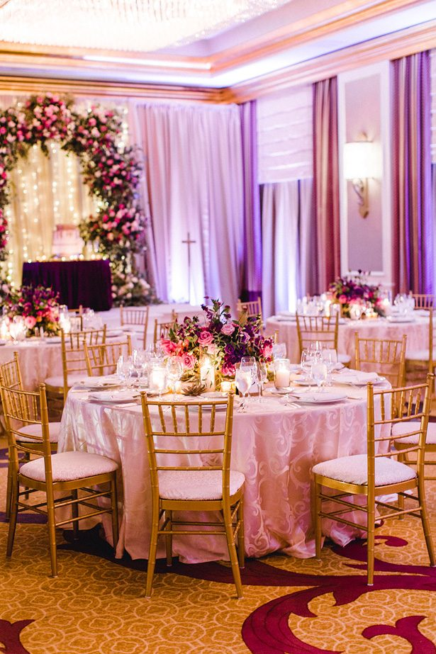 Purple and gold luxury wedding tablescape - Melissa Schollaert Photography