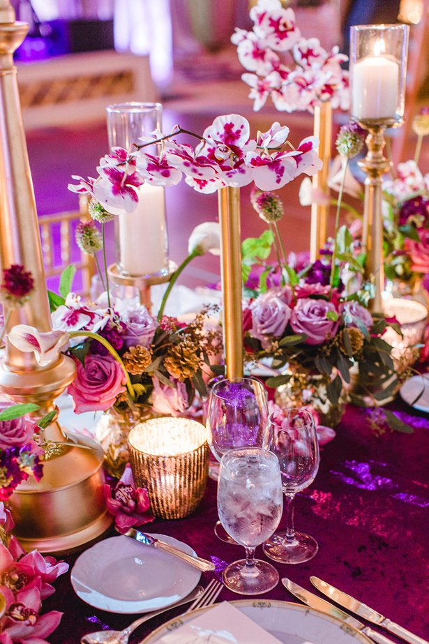 Purple and gold luxury wedding tablescape and floral centerpiece - Melissa Schollaert Photography