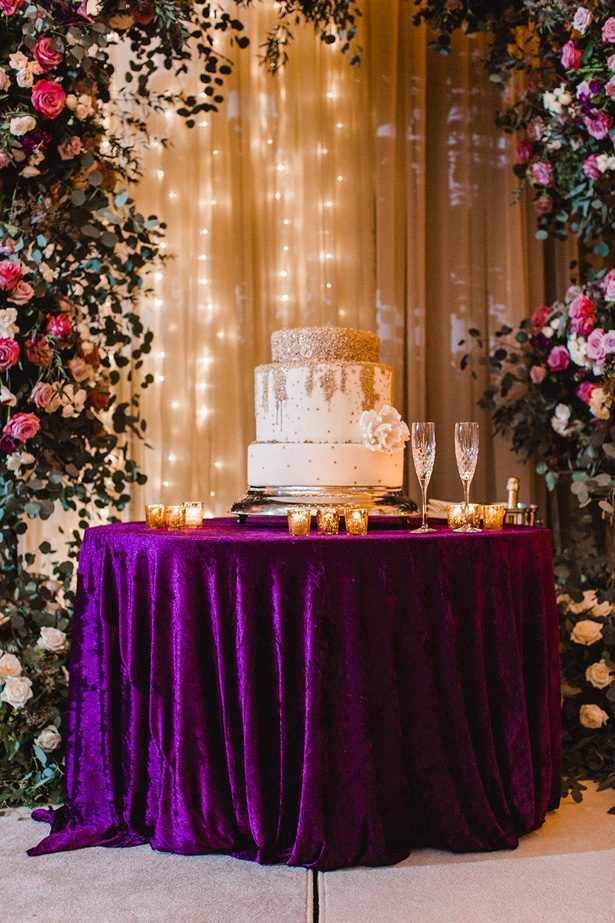 Purple and gold wedding cake table - Melissa Schollaert Photography