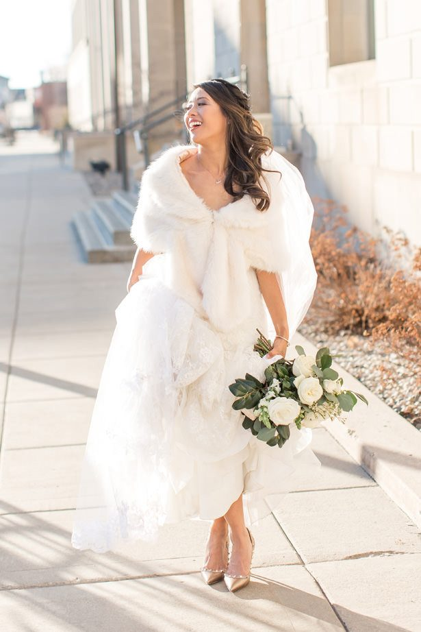 White mink faux fur bridal wrap - Abby Anderson