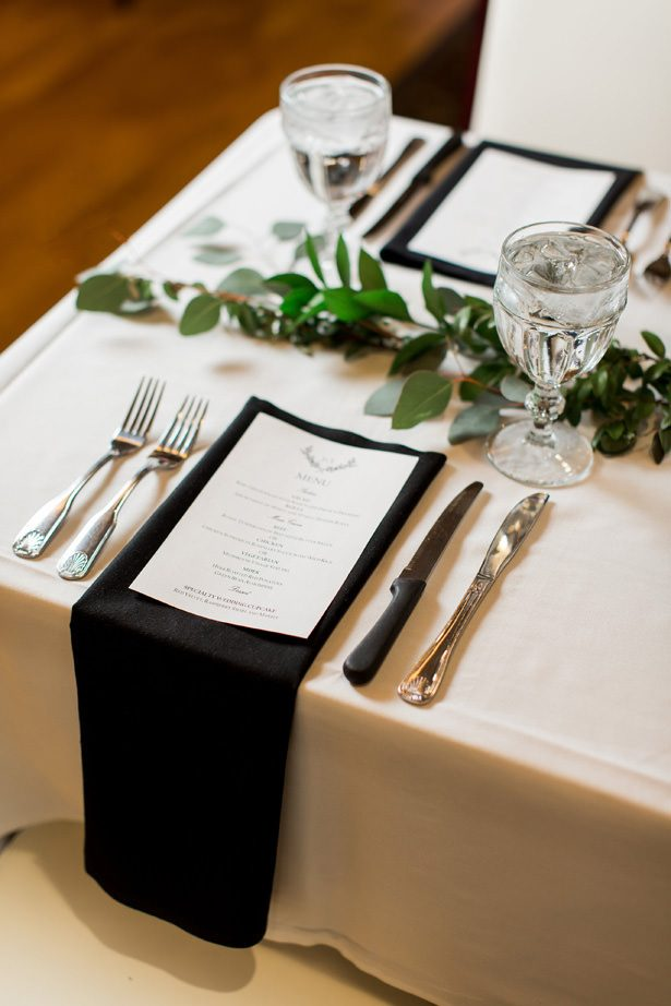 black and gold winter wedding menu - Abby Anderson