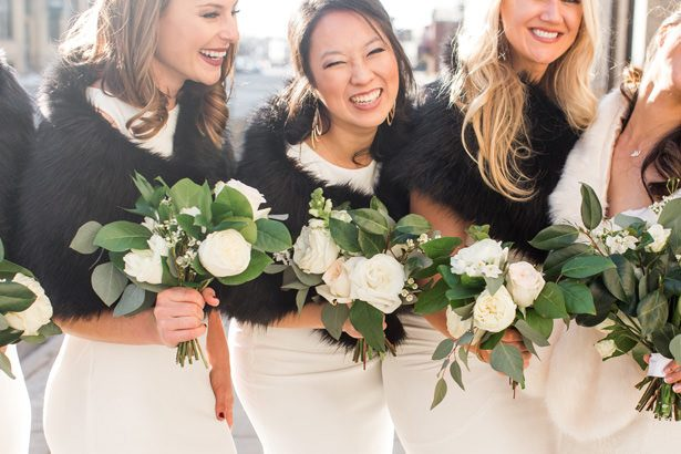 macthing bridesmaid black faux fur - Abby Anderson