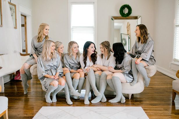 matching bridal party robes and socks - Honey + Bee Photography