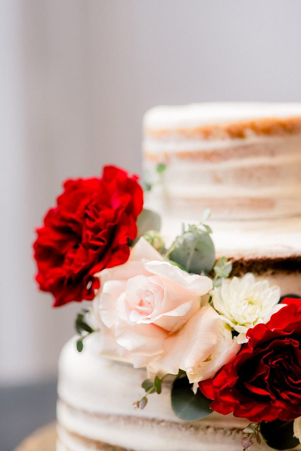 wedding cake with roses - XO and Fetti Photography