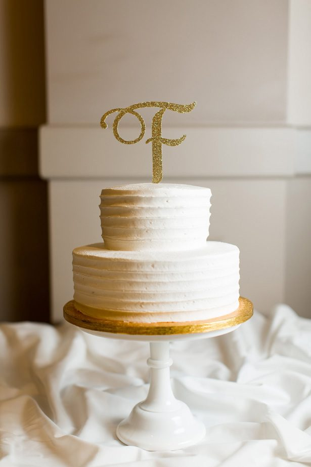 white and gold wedding cake - Abby Anderson