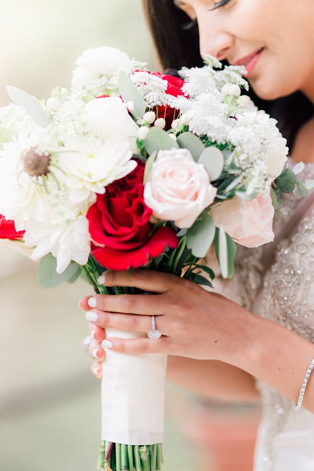white and red wedding bouquet - XO and Fetti Photography