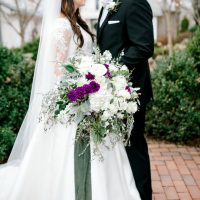 wild wedding bouquet with purple accents - Honey + Bee Photography