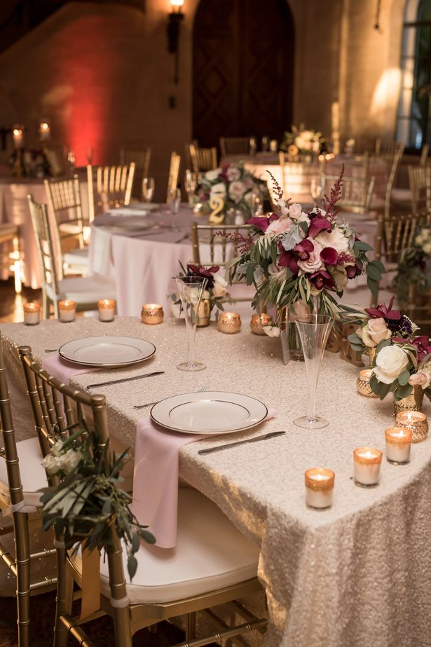 Burgundy and gold wedding sweetheart tablescape- Cat Pennenga Photography