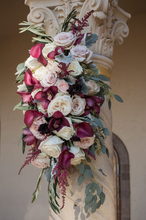 Burgundy flowers for wedding ceremony decor- Cat Pennenga Photography