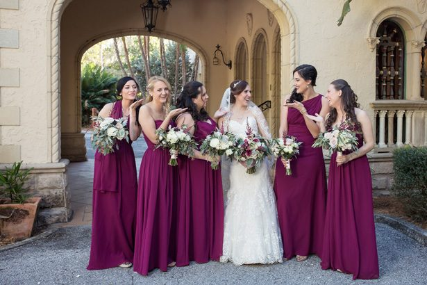 Dark purple burgundy long mismatched bridesmaid dresses- Cat Pennenga Photography