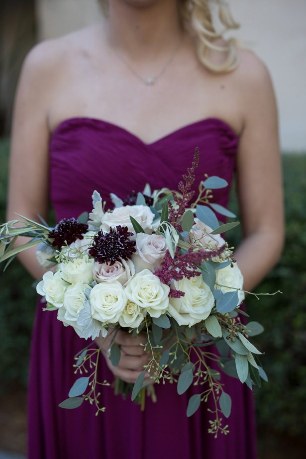 Dark purple wild wedding bouquet with white roses and blush flowers- Cat Pennenga Photography