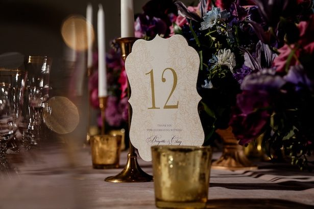 Gold Wedding Table Number -Sherri Barber Photography