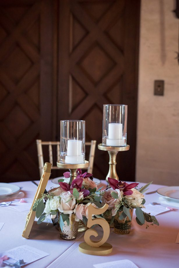 Gold and burgundy low wedding centerpiece- Cat Pennenga Photography