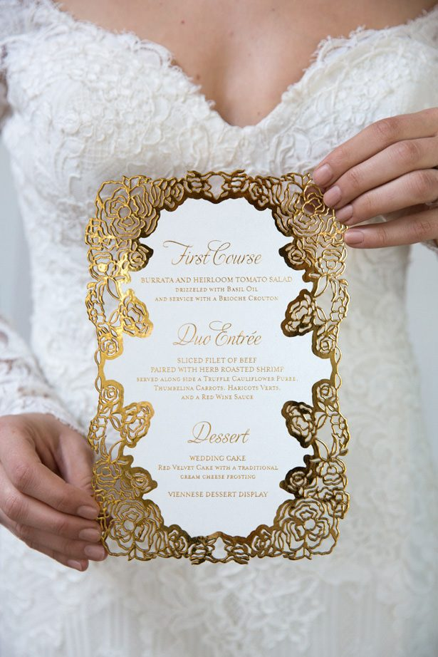 Gold wedding invitation - Unique Ways to Incorporate Calligraphy Into Your Wedding - Christine Chang Photography