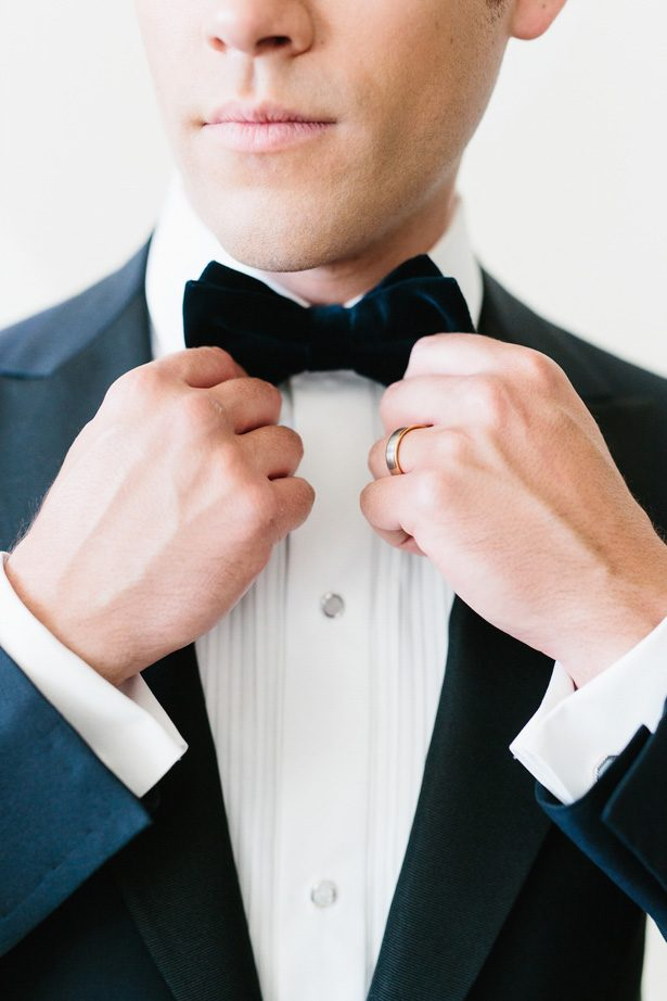 Groom wedding classic tux with bow tie - Photography: Kate Osborne