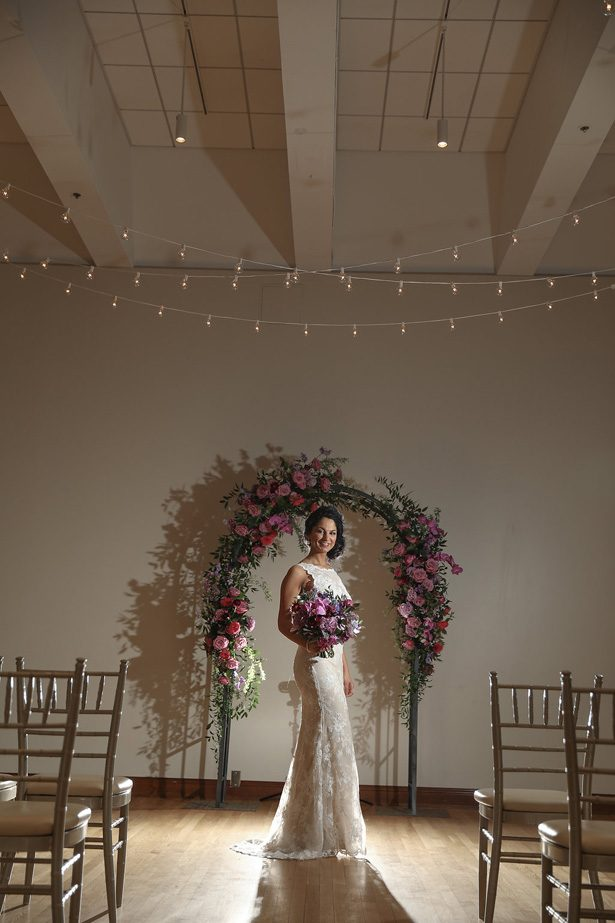Indoors wedding ceremony decor -Sherri Barber Photography
