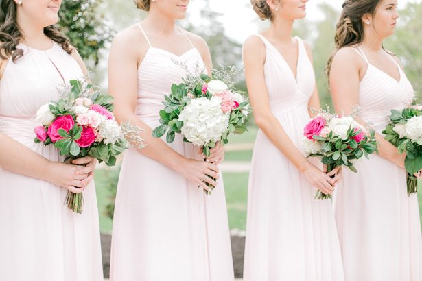 Long powder pink blush mismatched bridesmaid dresses - Photography: Lauren Westra